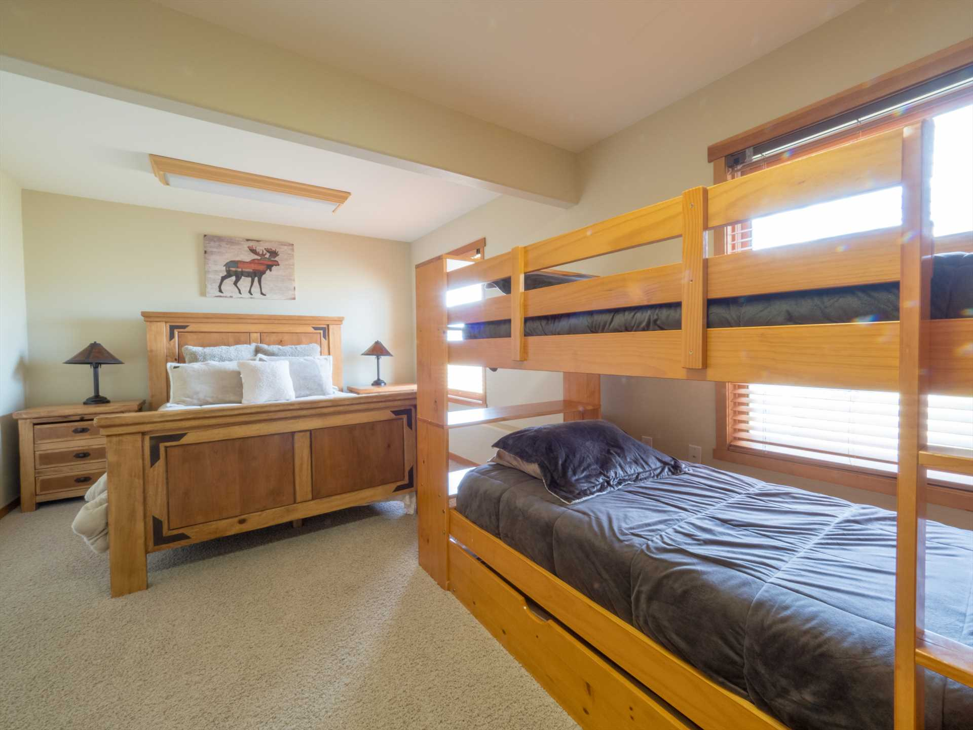 Lower level bunk room - queen, bunk bed, trundle